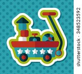 toy cart flat icon with long... | Shutterstock .eps vector #348523592