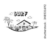 surfing camp. surfing school.... | Shutterstock .eps vector #348531692