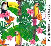 seamless jungle pattern with...   Shutterstock .eps vector #348536672