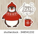 cute cartoon penguin. vector... | Shutterstock .eps vector #348541232
