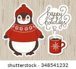 cute cartoon penguin. vector... | Shutterstock .eps vector #348541232