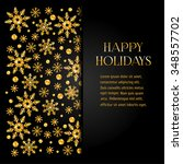 golden shiny snowflakes on a... | Shutterstock .eps vector #348557702