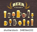 a set of beer glasses and beer... | Shutterstock .eps vector #348566102
