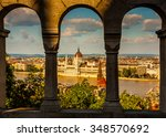 view of danube river and... | Shutterstock . vector #348570692