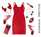 collage of red holiday clothes... | Shutterstock . vector #348575132