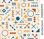 vector seamless retro 80's ... | Shutterstock .eps vector #348585995