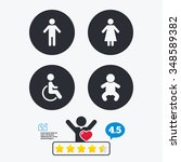 Wc Toilet Icons. Human Male Or...