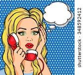 vector amazed woman on phone... | Shutterstock .eps vector #348592412