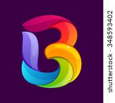 b letter logo formed by twisted ... | Shutterstock .eps vector #348593402