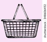 plastic shopping basket  doodle ... | Shutterstock . vector #348606452