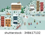 winter town | Shutterstock .eps vector #348617132