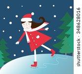 illustration of a girl on an... | Shutterstock . vector #348628016