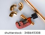 copper fittings and tools. | Shutterstock . vector #348645308
