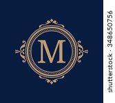elegant floral monogram design... | Shutterstock .eps vector #348650756
