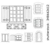 vintage windows set on white... | Shutterstock .eps vector #348662612