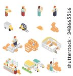 big set of isometric warehouse... | Shutterstock . vector #348665516