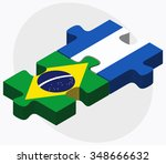 brazil and nicaragua flags in... | Shutterstock .eps vector #348666632