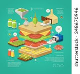 vector infographic with layered ... | Shutterstock .eps vector #348670946