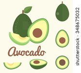 vector avocado  flat design | Shutterstock .eps vector #348675032