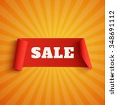 Sale  Red Banner On Orange...