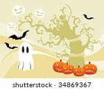 illustration of halloween... | Shutterstock .eps vector #34869367