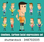 illustration of  cute boy faces ... | Shutterstock .eps vector #348702035