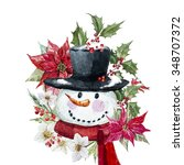 Watercolor Snowman With...