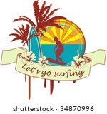 surf emblem vector  easy to... | Shutterstock .eps vector #34870996