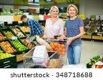 positive customers choosing... | Shutterstock . vector #348718688
