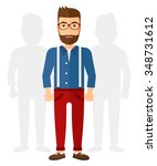 a caucasian young hipster man... | Shutterstock .eps vector #348731612