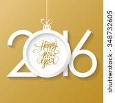 creative happy new year 2016... | Shutterstock .eps vector #348732605