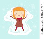 girl making a snow angel | Shutterstock .eps vector #348743792