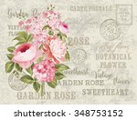flower garland for invitation... | Shutterstock .eps vector #348753152