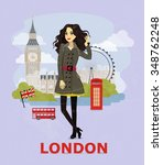 fashion illustration  london ... | Shutterstock .eps vector #348762248