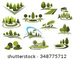 green summer park  forest and... | Shutterstock .eps vector #348775712