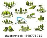 green summer park  forest and... | Shutterstock .eps vector #348775712