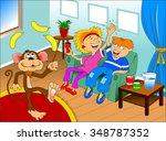 funny monkey juggling two... | Shutterstock .eps vector #348787352