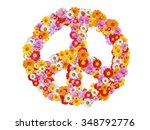 peace sign with garden... | Shutterstock . vector #348792776
