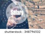 businessman pressing an salary...   Shutterstock . vector #348796532