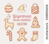 hand drawn gingerbread cookies... | Shutterstock .eps vector #348800606