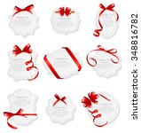 card with red ribbon and bow...   Shutterstock .eps vector #348816782
