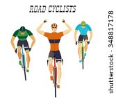 Set Of Three Racing Cyclists In ...