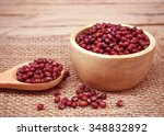 redbean in the wooden cup on... | Shutterstock . vector #348832892