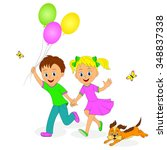 boy with balls girl and a dog... | Shutterstock .eps vector #348837338