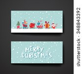 merry christmas set of card... | Shutterstock .eps vector #348843392