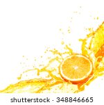 orange juice splashing with its ... | Shutterstock . vector #348846665