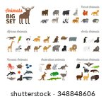 animals in flat style big set.... | Shutterstock .eps vector #348848606