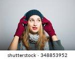 blonde girl listening to music... | Shutterstock . vector #348853952