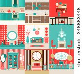 collection of interior design... | Shutterstock .eps vector #348883448