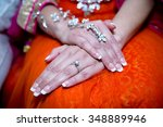 close up of brides hands with... | Shutterstock . vector #348889946